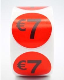 Prijsstickers op rol 7 euro 2cm - 500 stuks