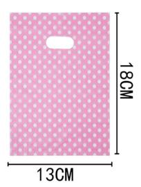 50 Stuks Plastic draagtas met gestanste handgrepen H18cm x B13cm roze stip