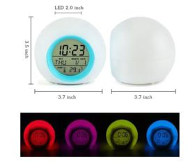 7 kleuren LED nachtlamp - digitale wekker