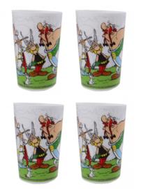 4 stuks Asterix & Obelix bekers kunststof 220 ml wit