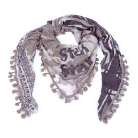 Sjaal met print star met kwastjes