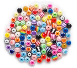 50 stuks acryl kralen streep multicolor 10mm