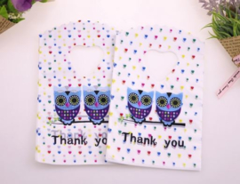 50 stuks mini cadeautjes print uil thank you