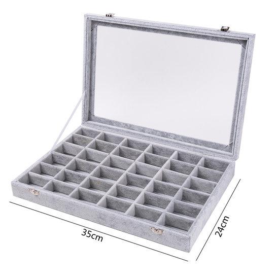 Luxe display koffer fluweel grijs 36 vakken