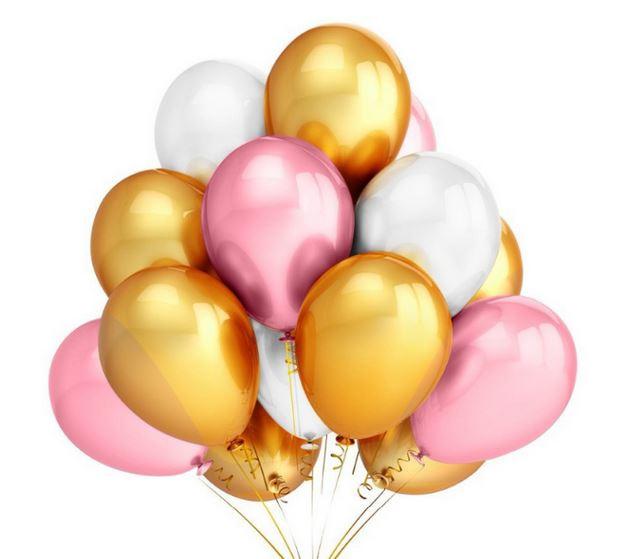 10 stuks ballonnen parelmoer goud - roze - wit