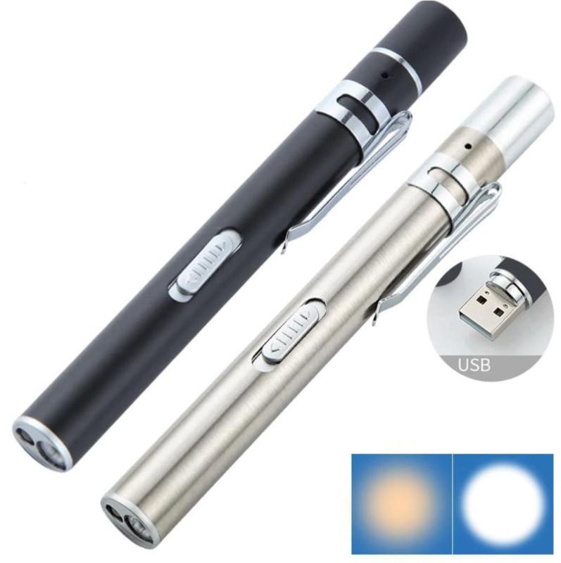 2 stuks RVS penlight - usb oplaadbare zaklamp zwart - zilverkleur