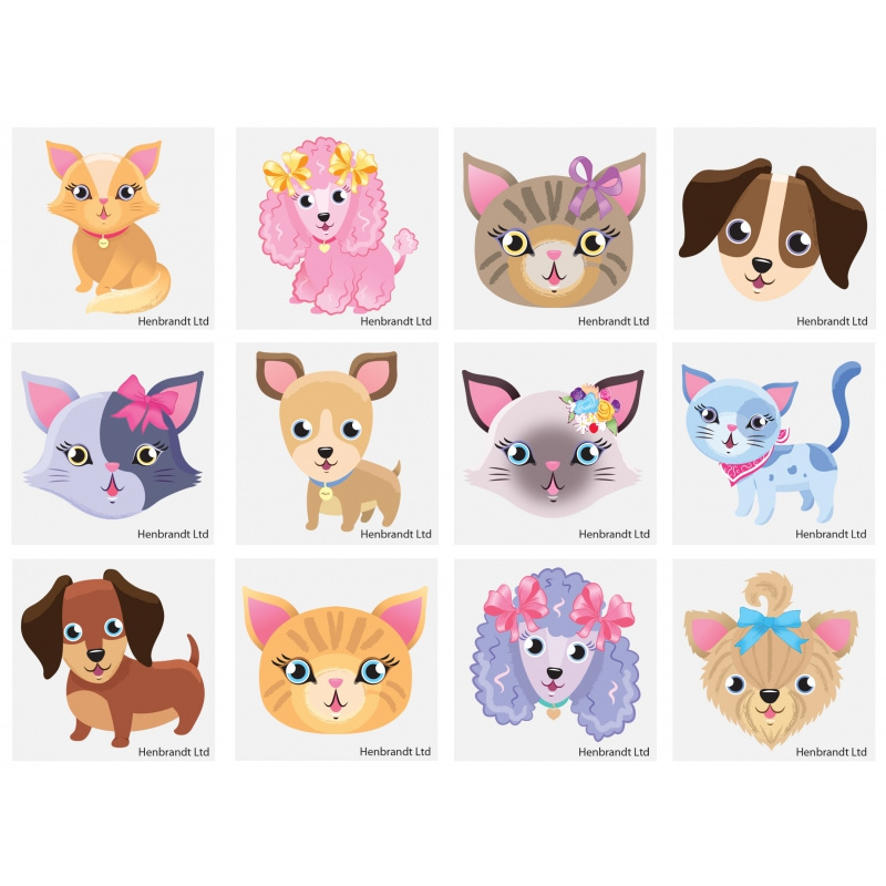 Setje van 12 stuks tattoo hond en kat 4x4 cm