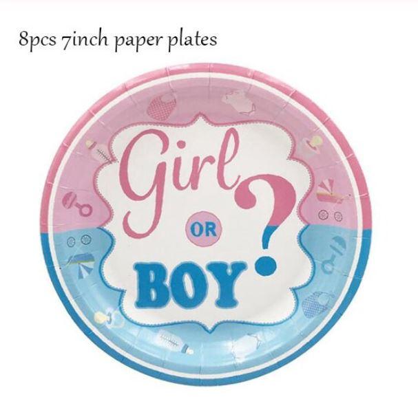8 stuks kartonnen borden babyshower Boy or Girl ?