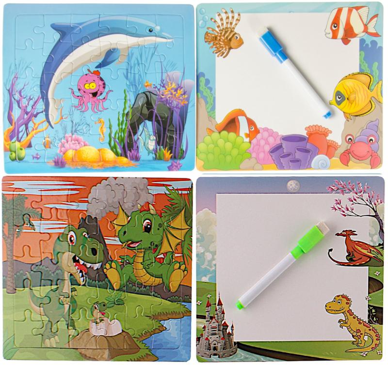 2 legpuzzels + 2 tekenborden + stiften dolfijn en draakje