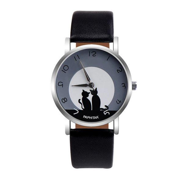 Stijlvolle Quartz horloge katten