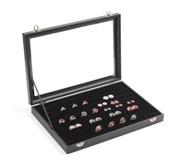 Ringen display koffer met deksel lederlook - velours