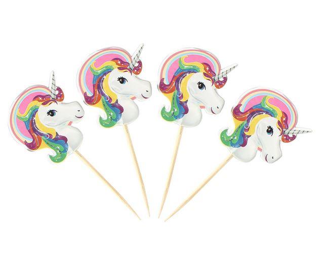 40 stuks cupcake toppers unicorn / eenhoorn
