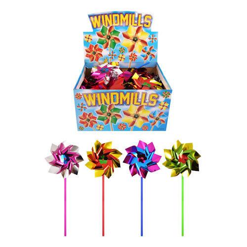 12 stuks windmolens 27 cm multicolor