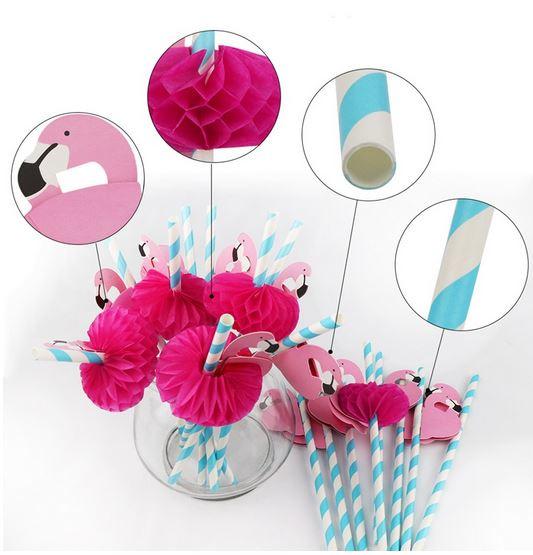 25 stuks papieren Flamingo rietjes