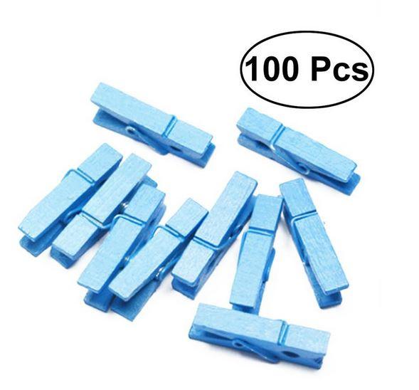 100 stuks houten mini knijpers blauw 2.5 cm