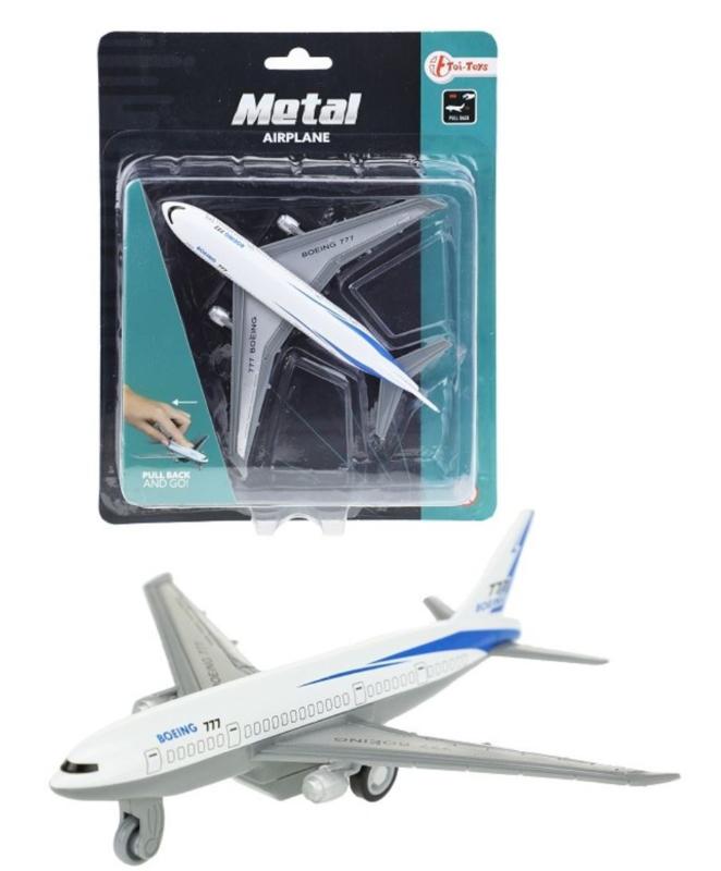 Metalen vliegtuig met Pull Back 13 cm