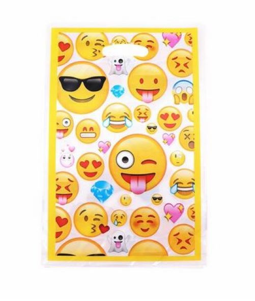 10 stuks Emoji traktatiezakjes 25x16 cm