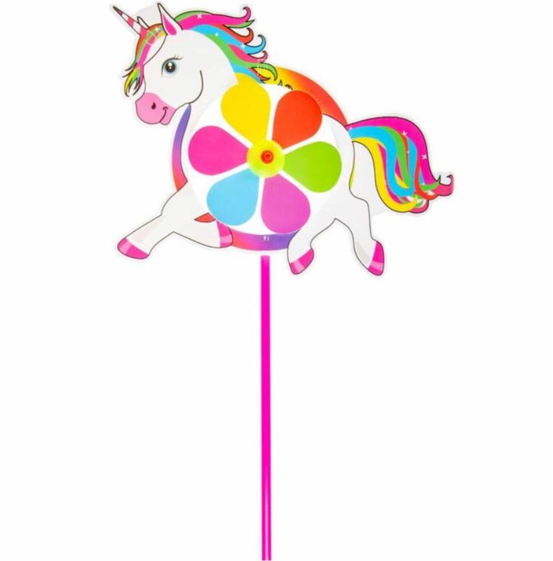 2 stuks grote windmolens unicorn - eenhoorn 28,5 cm hoog