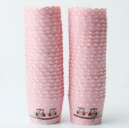 50 stuks cupcake omslagen roze uil