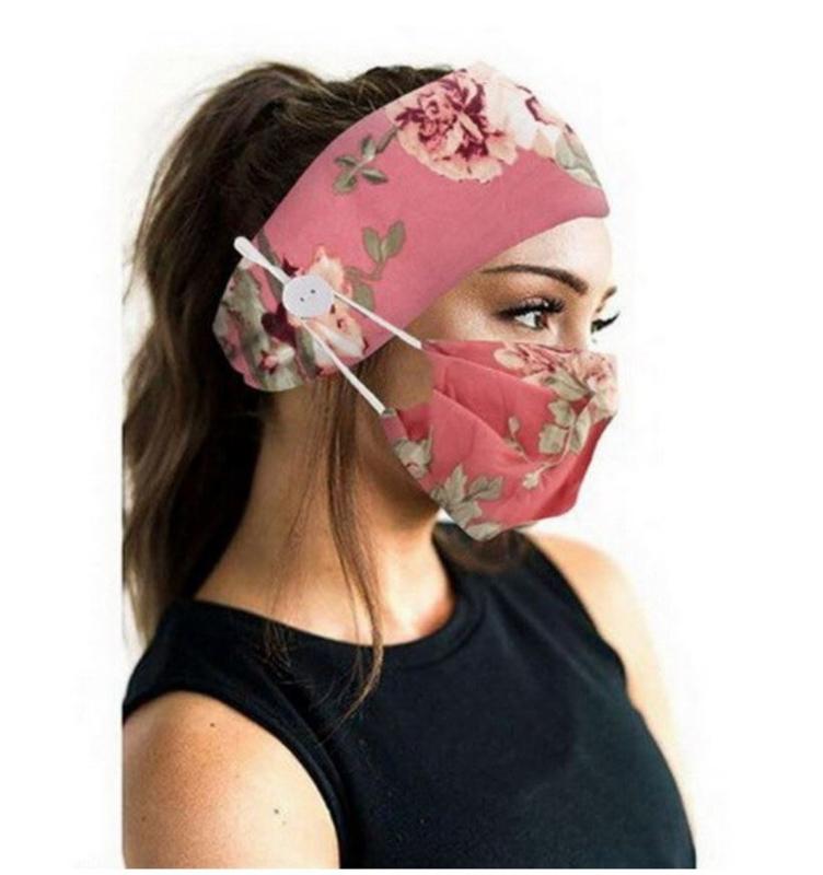 Fashion Haarband - hoofdband + mondmasker bloemen wasbaar