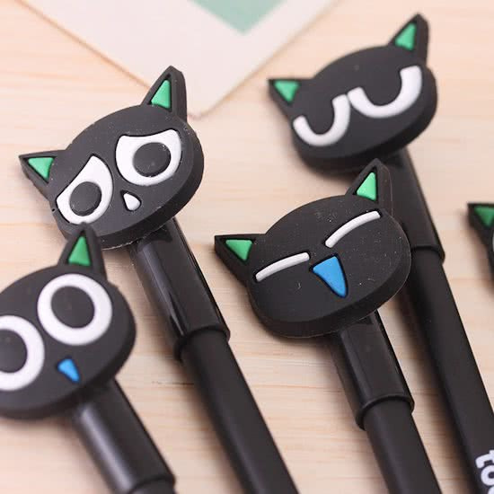 2 stuks katten gelpennen zwart