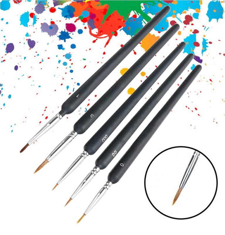 5 stuks fijne aquarel penselen