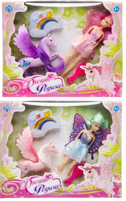 2 x verschillende speelsets Dream Pegasus roze en paars 3-delig