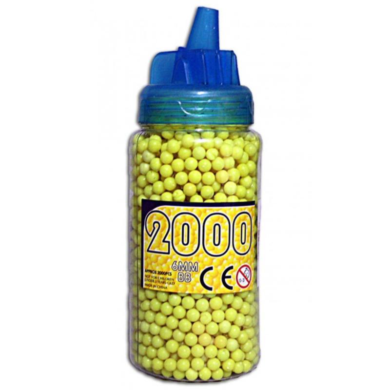 Schietballetjes In fles 2000 stuks geel