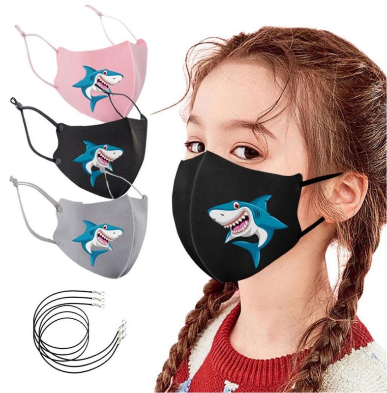 3 stuks mondmaskers voor kinderen opdruk haai wasbaar - herbruikbaar
