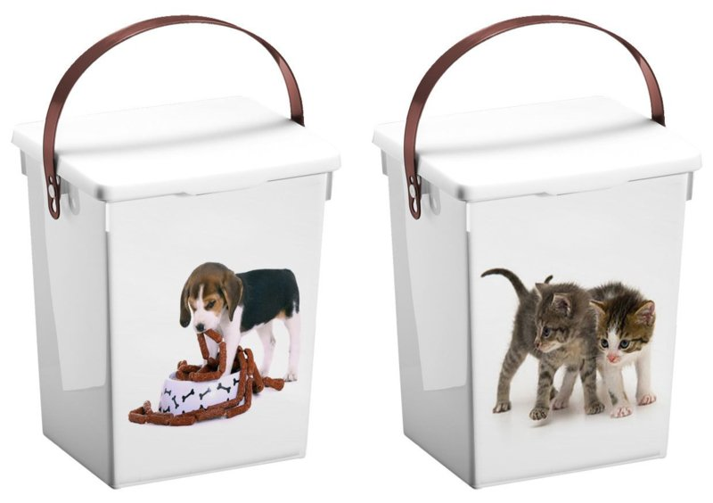 2 stuks diervoederbox honden en katten 5 liter met deksel