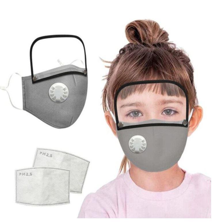 Mondmasker met spatschempje voor kinderen grijs - wasbaar - herbruikbaar