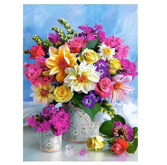 Diamond Painting vaas met bloemen 20x30 cm