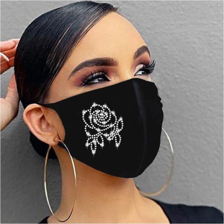 Fashion mondmasker zwart met roos van strass - wasbaar - herbruikbaar