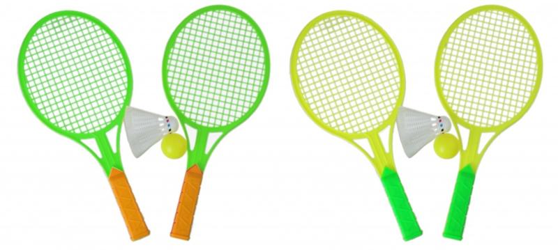 2 complete setjes kunststof tennis rackets - shuttle en balletje Groen en Geel