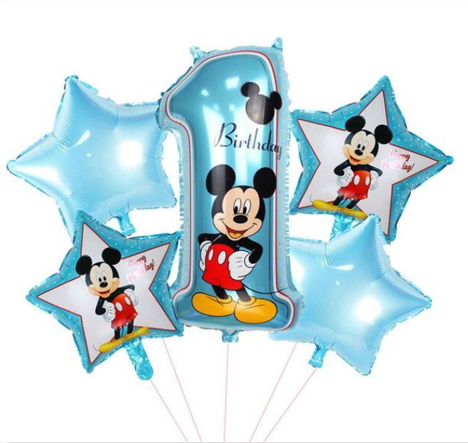 5 stuks helium ballonnen Mickey Mouse 1 jaar
