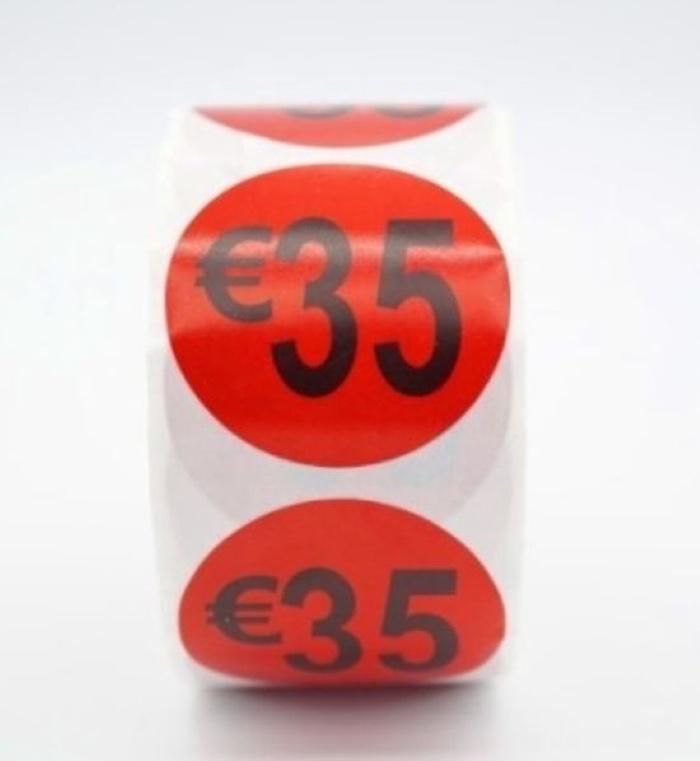 Prijsstickers op rol 35 euro 3.5 cm - 500 stuks