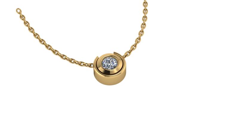 Gouden collier rond 0.05ct briljant the luxe case. Keuze uit geel-, rood- of witgoud.