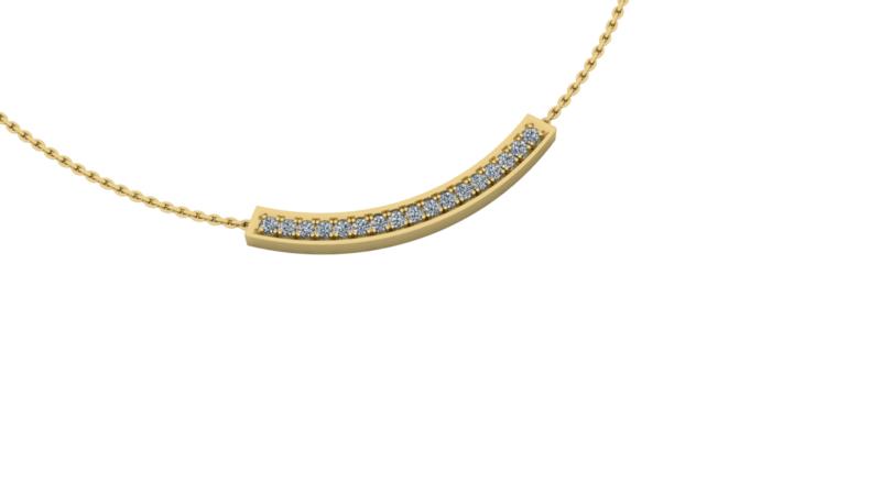 Gouden collier Bow Big 0.35ct briljant.  Keuze uit geel-, rood- of witgoud.