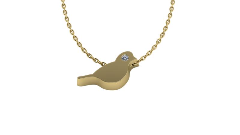 Gouden collier Vogel 0.01ct briljant. Keuze uit geel-, rood- of witgoud.