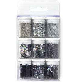 12194-9402 Glitters Zilver - 9 potjes