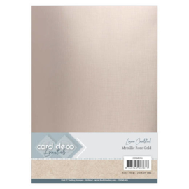 CDEML004 Linnenkarton A4 metallic 250gr - Rose Gold - 6 stuks - Card Deco