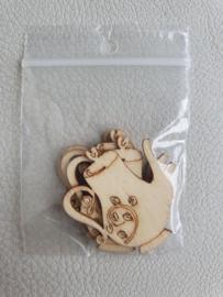 Houten figuurtjes theepot 4 x 3cm - 5 stuks