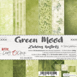 """CC-ZM-BC01 Paper Collection Set 6""""*6"""" Basic 01 - Green Mood, 250 gsm (24 sheets, 12 designs, 4x6 double-sided sheets, bonus design - 2 sheets)"""