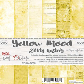 """CC-ZM-BC08 Paper Collection Set 6""""*6"""" Basic 08 - Yellow Mood, 250 gsm (24 sheets, 12 designs, 4x6 double-sided sheets, bonus design - 2 sheets)"""