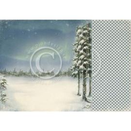 PD3804 Scrappapier Dubbelzijdig - Wintertime in Swedish Lapland - Pion