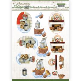 CD11725 3D vel A4 - Christmas Cottage- Jeanine's Art