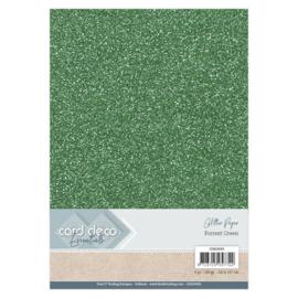 CDEGP005 Glitterkarton A4 250gr - Forest Green  - 6 stuks - Card Deco
