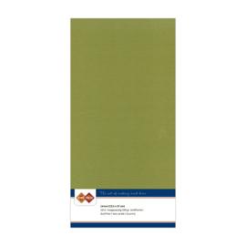 46 Olijfgroen - Linnen Kaarten 4 kant 13.5x27cm - 10 stuks - 200 grams - Card Deco