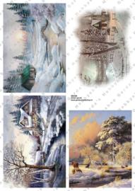 GH3349 Vintage vel - Winterlandschap Groot (4 plaatjes) - Gerda's Hobbyshop