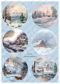 GH3387 Vintage vel - Cirkels Winter/Kerst - Gerda's Hobbyshop
